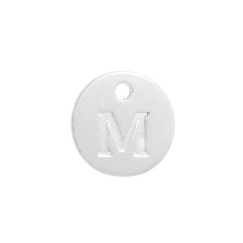 Initial Charm Silver 12mm Letter 'M'