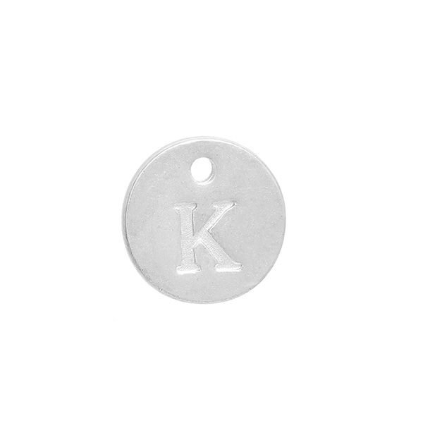 Initial Charm Silver 12mm Letter 'K'