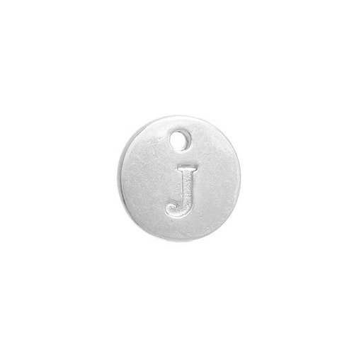 Initial Charm Silver 12mm Letter 'J'