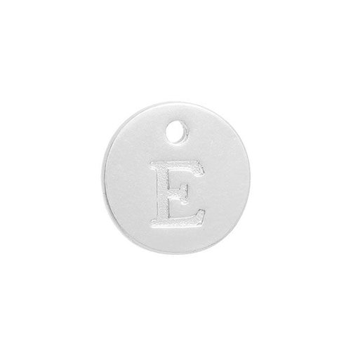 Initial Charm Silver 12mm Letter 'E'