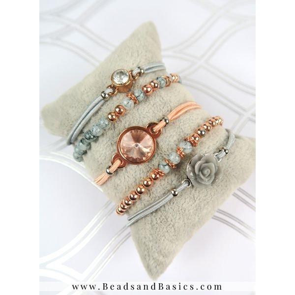 Rosé Goud Met Grijs Armbanden Set Van Kralen