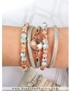 Rosé Goud & Marmer - Armbanden setje met leer