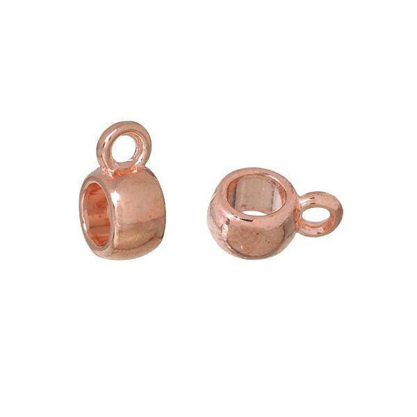 Bail Bead Rose Gold 6mmx9mm, 10 pieces