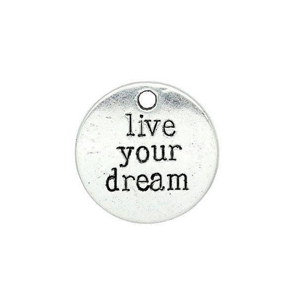 Live Your Dream Bedel Zilver 20mm, 3 stuks