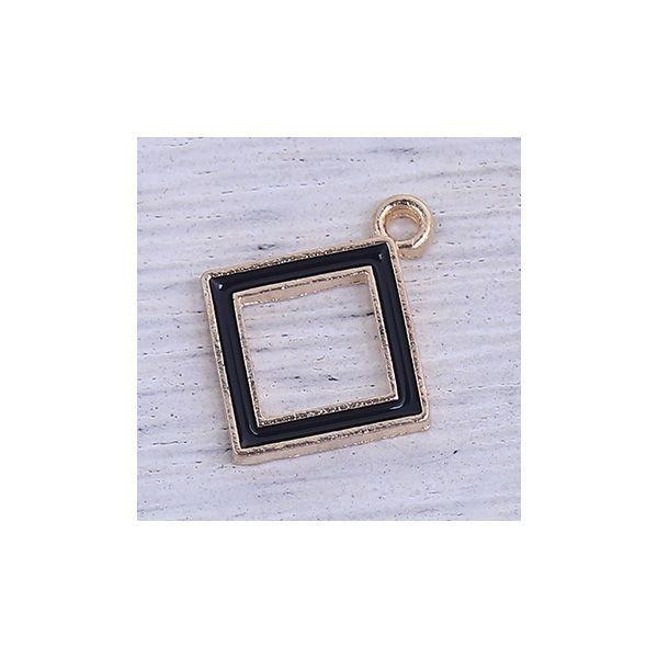Luxury Square Bead Black 18x15mm, 4 stuks