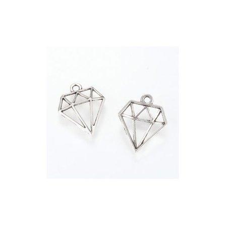 Diamond Charm Silver 19x16mm, 8 pieces