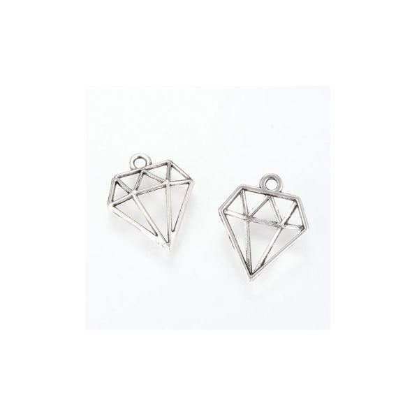 Diamond Charm Silver 19x16mm, 8 pieces