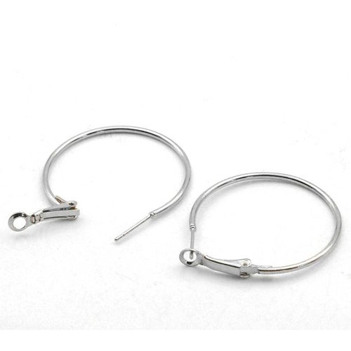 Earring Hoops Silver 40x35mm, 4 pieces