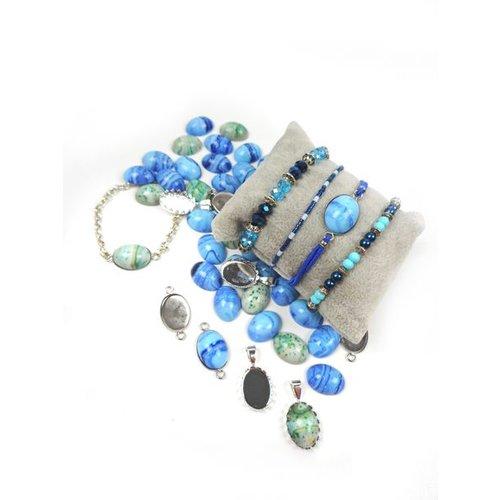 Blue Bracelets with Cabochons Jewelry Inspiration