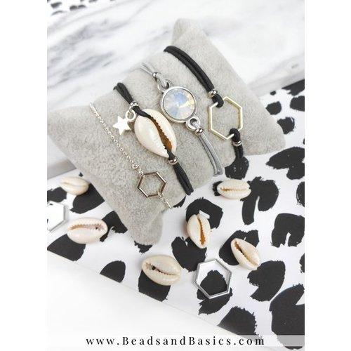 Armbandjes Van Elastiek Met Verschuifbare Knoop En Bedels