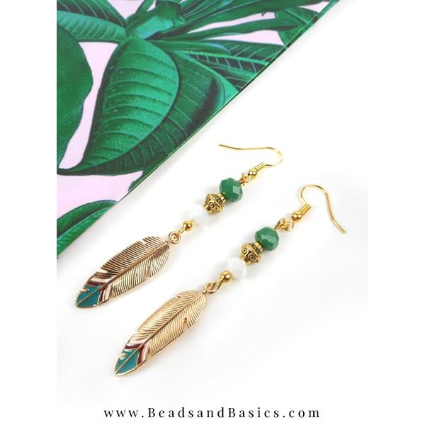 Earrings With Feather Charms - Gold With Green And White