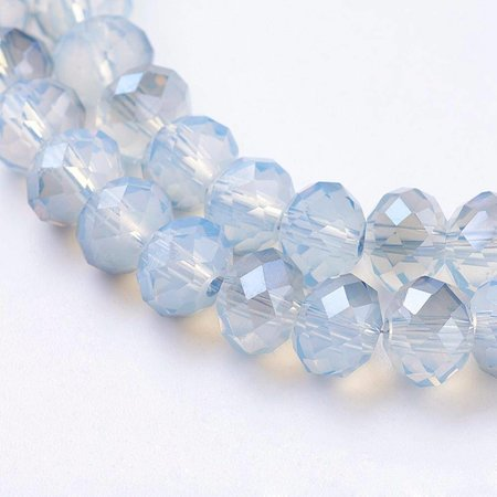 Faceted Beads Grey Blue 6x4mm, 50 pieces