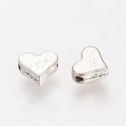 10 pieces Spacer Bead Silver Heart 6x5mm