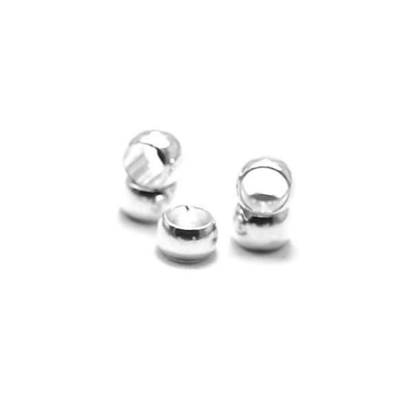 Crimp beads Silver 4mm for 3mm Cord, 20 pieces