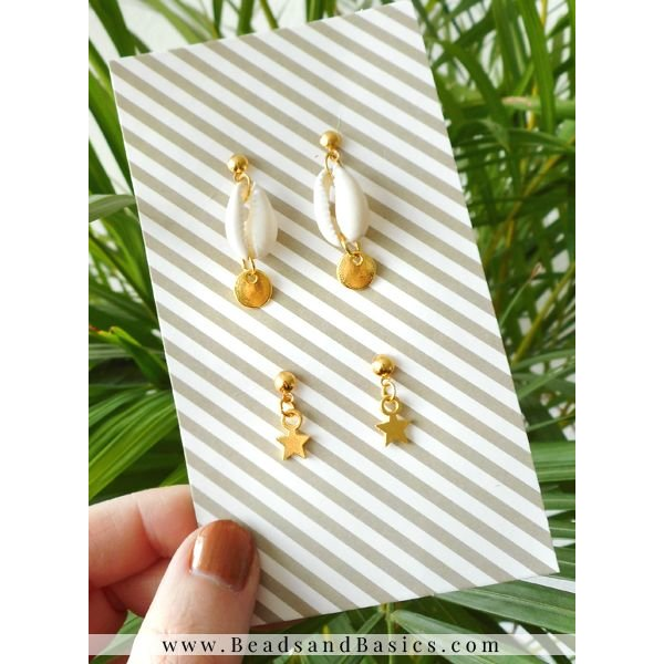 Minimalist Earrings With Kauri Shell Bead And Star Charms