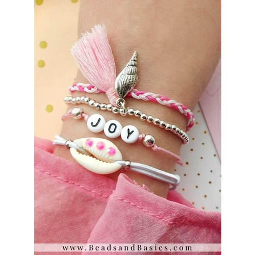 Letter Beads Bracelets Set With Charms