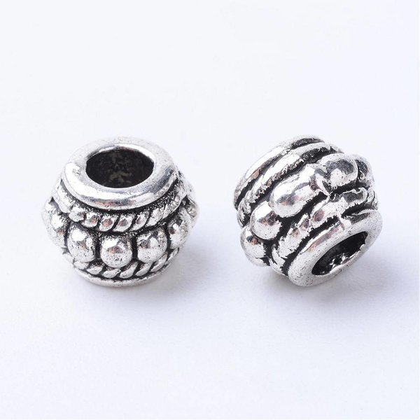 Tibetan Spacer Beads Silver 8x6mm fits 3.5mm, 8 pieces