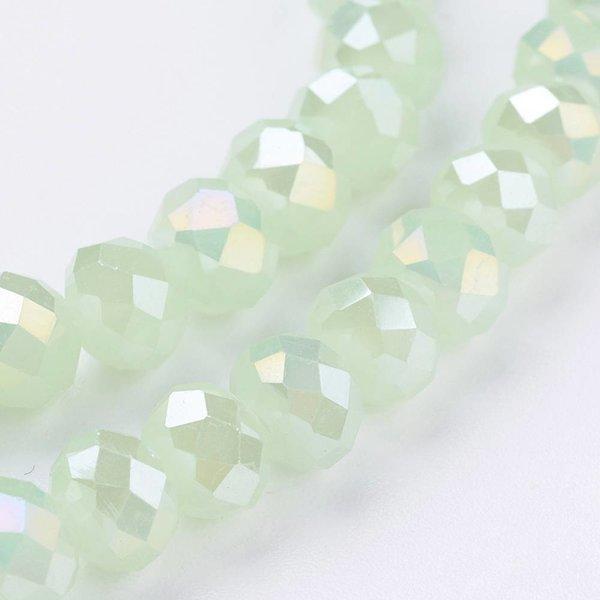 50 pieces Facet Bead Mint Shine 6x4mm
