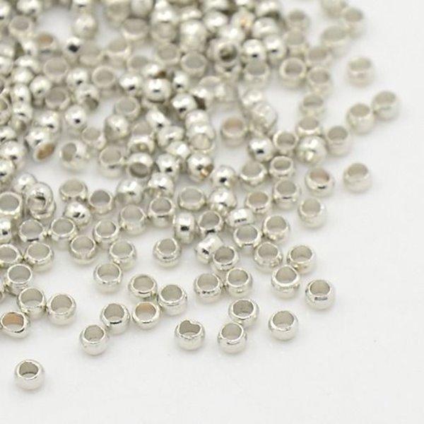 Crimp Beads Silver 1.5mm, 100 pieces