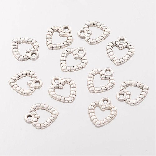 10 pcs Silver Heart Charm 10x11mm