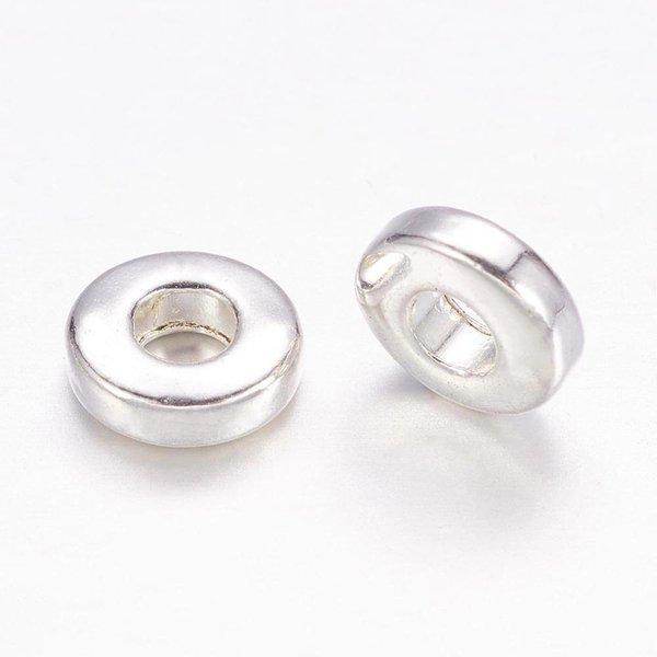 Spacer Beads Zilver Nikkel Vrij 6x2mm, 15 stuks