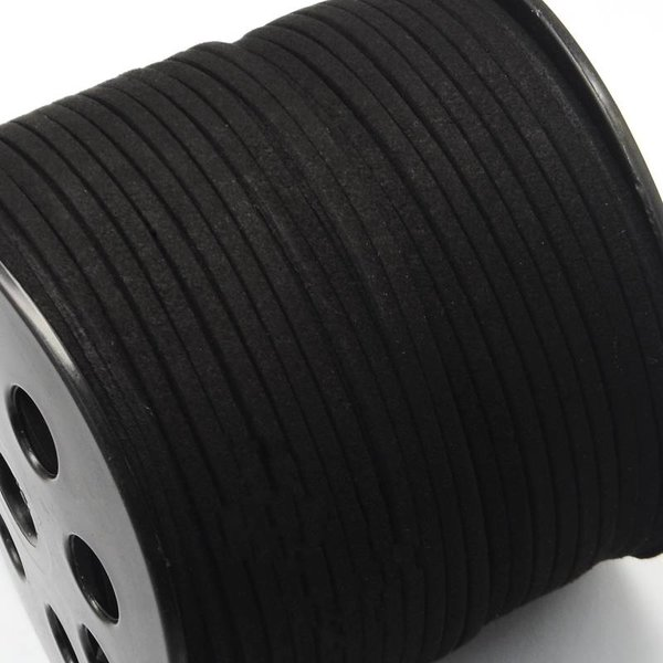 Faux Suede Cord Black 3mm, 3 meter