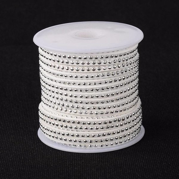 Suede met Zilveren Studs Wit 3mm, 1 meter