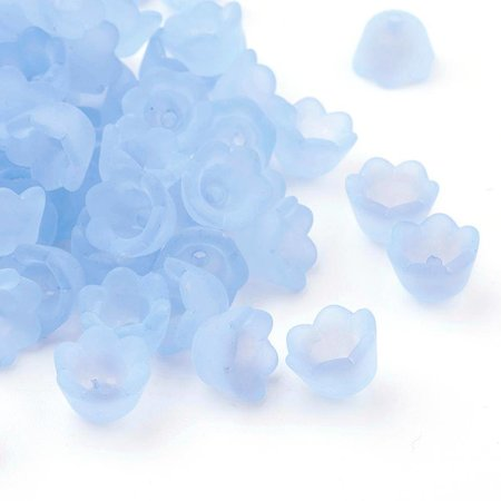 Flower Beads Light Blue 10x7mm, 10 pieces