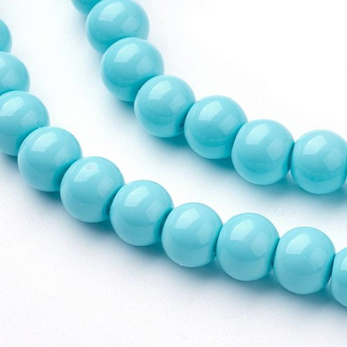 Glassbeads Turquoise 6mm, 80 pieces