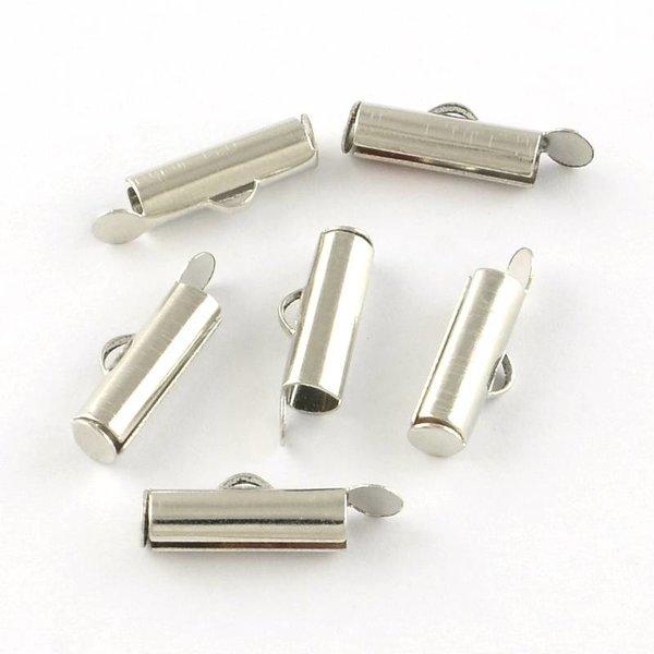 Eindkap voor Weefarmbandje Zilver 20mm, 6 stuks