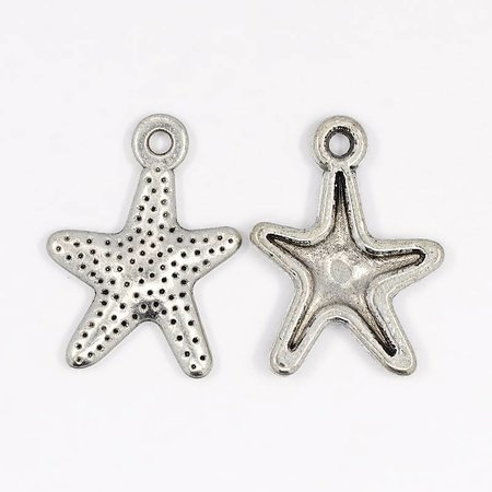 6 pcs Starfish Charm Silver 16x12mm