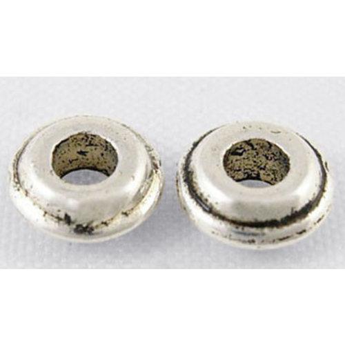 20 stuks Metalen Kralen Rondelle Zilver Nikkelvrij 6mm