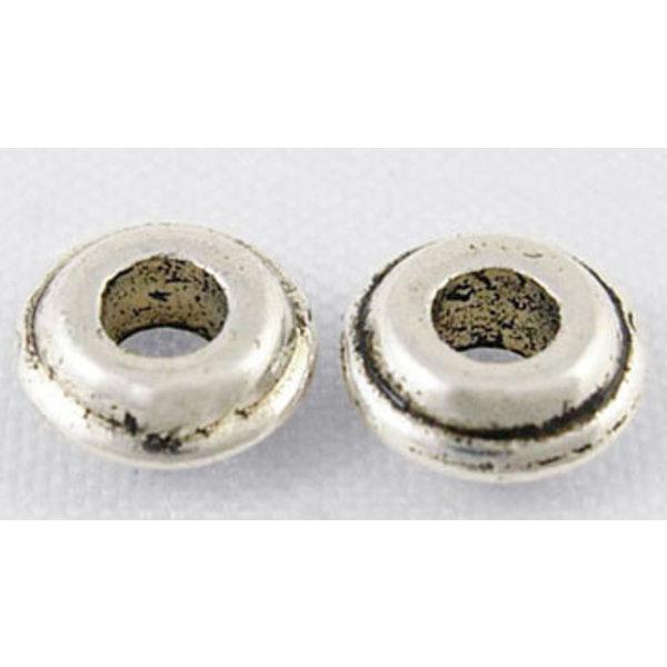 Metalen Kralen Rondelle Zilver Nikkelvrij 6mm, 20 stuks