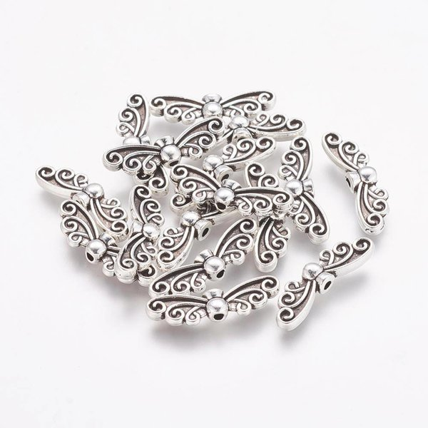 Wing Beads Silver 22x6mm, 6 pieces