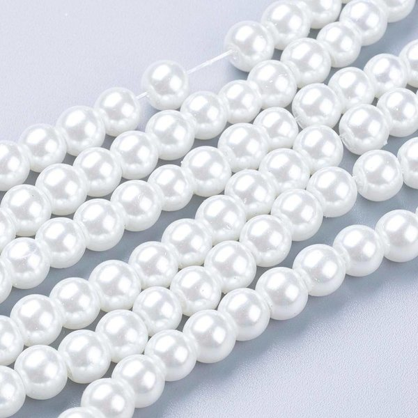 Strand 275 pieces Top Quality Glass Pearls 6mm White