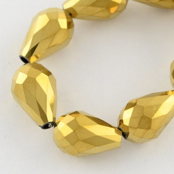 Faceted Drop Glassbeads Gold Metallic 11x8mm, 10 pieces