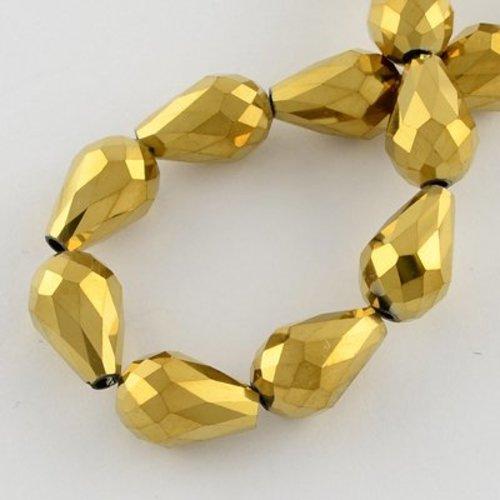 Facet Druppelkralen Goud Metallic 11x8mm, 10 stuks