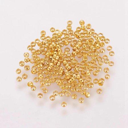 Crimp Beads Gold 2mm, 100 pieces