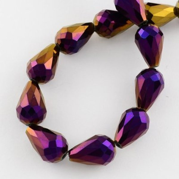 Faceted Drop Glassbeads Purple Metallic 11x8mm, 10 pieces