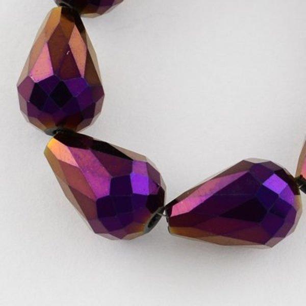 Facet Druppel Glaskralen Paars Metallic 11x8mm, 10 stuks