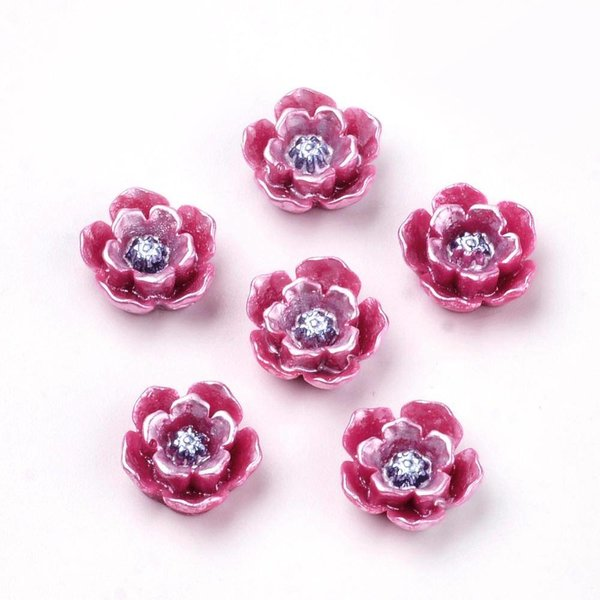 Cabochon Flower Fuchsia Shine 10mm, 8 pieces