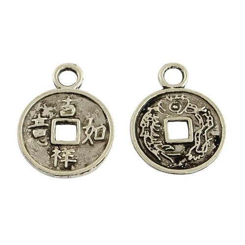 Silver Charm Chinese Lucky Coin 17x13mm, 6 pieces