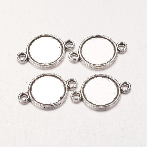 Connector Silver 18x12mm fits 10mm Cabochon, 8 pieces