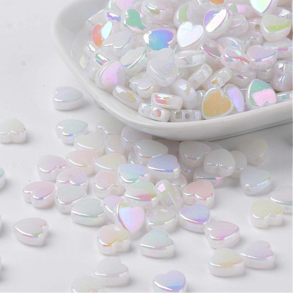 15 pieces Heart Beads 8x3mm White Shine