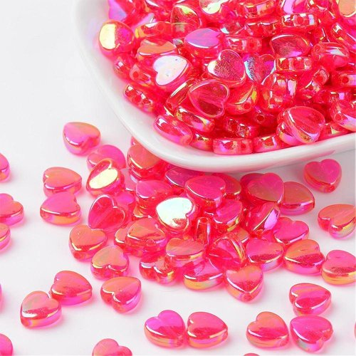 15 pcs Pink Heart Bead Shine 8x3mm