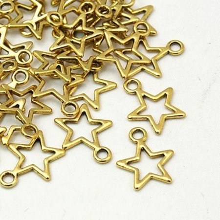 Star Charm Gold 15x12mm, 10 Pieces