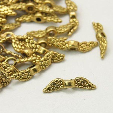 10 stuks Metalen Vleugeltje Goud Nikkelvrij 12x3mm