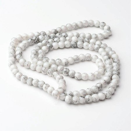 50 pieces Glassbeads Marble Look 6mm