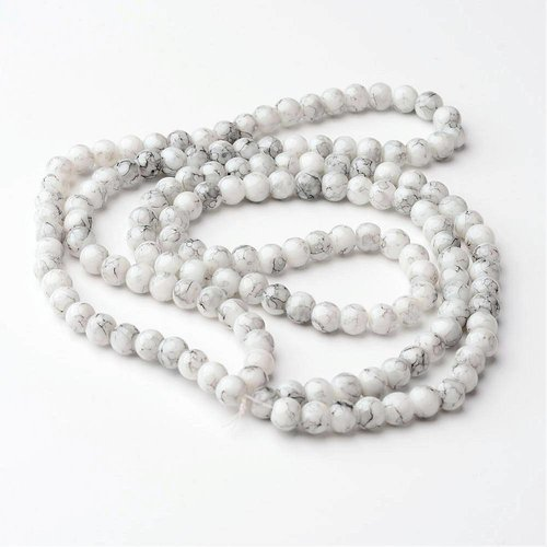 80 pieces Glassbeads Marble Look 6mm