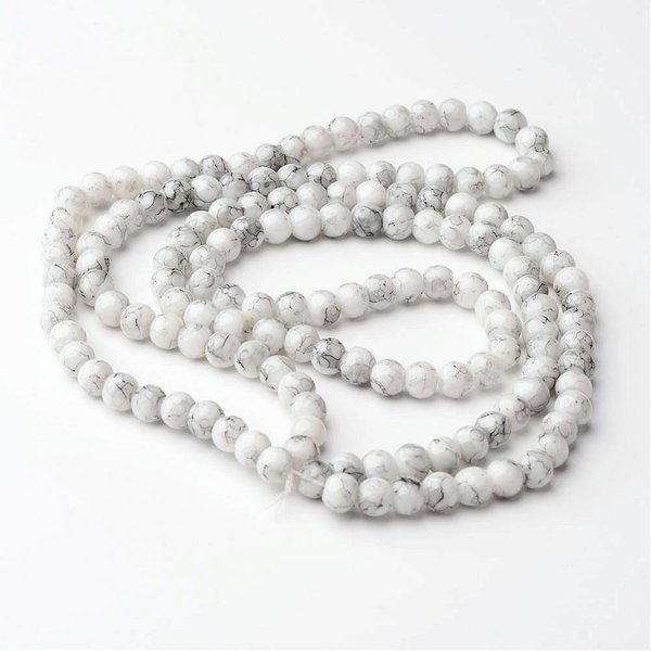 Glassbeads Marble Look 6mm, 80 pieces